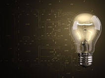 Bulb with draft Royalty Free Stock Images
