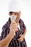 bulb electric engineer showing Στοκ φωτογραφία με δικαίωμα ελεύθερης χρήσης