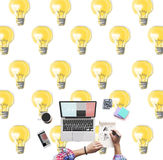 Bulb Electricity Illumination Idea Lighting Concept Stock Images