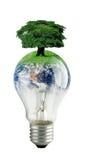 Bulb. Energy saving bulb with planet earth Royalty Free Stock Photo