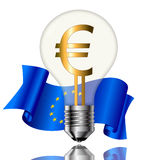Bulb with euro sign. Light bulbs with Euro sign and flag on white background Stock Photos