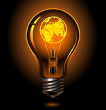 Bulb-europe. Vector bulb with earth inside ( europe Royalty Free Stock Photo