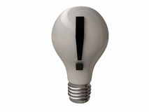 Bulb with exclamation point Stock Photography