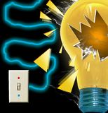 Bulb explosion. View of illustrated borken light bulb Royalty Free Stock Image