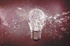 Bulb explosion high speed photography. Real glass bulb explosion high speed photography royalty free stock photo