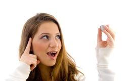 bulb female holding innovative Στοκ εικόνες με δικαίωμα ελεύθερης χρήσης