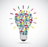 Bulb flowers unusual light eco idea symbol. Royalty Free Stock Photo