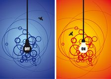 Bulb and a fly on circle background. Bulb and fly on circle background in two different color versions. Full editable illustration Royalty Free Stock Photos