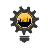 Bulb and gear shape with oil extraction industry and nuclear reactor. Vector illustration Stock Images