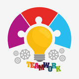 Bulb gears puzzle teamwork support design Stock Photos