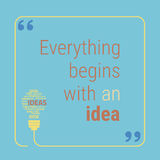 Bulb gears quote words Royalty Free Stock Image