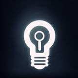 Bulb glowing icon. Light bulb icon with search sign on black background Royalty Free Stock Photo