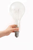Bulb in hand. Isolated on white background Stock Photos