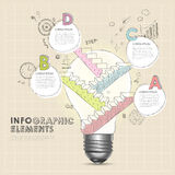 Bulb with hand draw stair abstract infographic elements Stock Photo