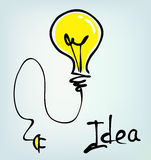 Bulb hand drawn idea Stock Image