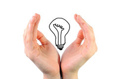 Bulb in the hands Stock Image