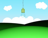 Bulb hanging from sky Stock Photos