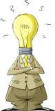 Bulb head. Cartoon light bulb head man, vector Royalty Free Stock Photos