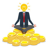 Bulb head business man sitting on gold. Stock Images