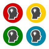 Bulb in head icons set, Idea head, Pictograph of bulb concept. Vector icon Stock Photography