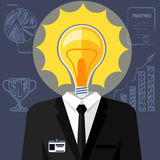 Bulb headed man. Business man in suit Stock Photos