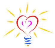 Bulb heart  Royalty Free Stock Images