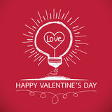 Bulb with heart Idea concept for Happy Valentines Day card in Ve Stock Photo