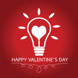 Bulb with heart Idea concept for Happy Valentines Day card in Ve Royalty Free Stock Photo
