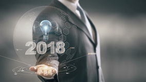 2018 with bulb hologram businessman concept. Business, Technology Internet and network concept stock footage