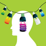 Bulb in human head Stock Photography