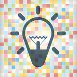 Bulb Icon on Colorful Squares Background. Lamp Symbol Vector Royalty Free Illustration