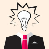 Bulb Icon over Suit stock illustration