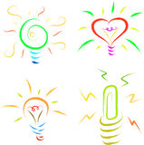 Bulb icon set Royalty Free Stock Images
