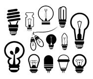 Bulb icon set Stock Photos