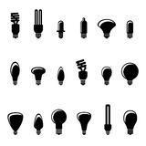 bulb icons light Royaltyfri Bild