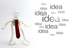 Bulb idea 1. Bulb lamp character with a composition of idea word on the right side Stock Photos