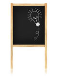 Bulb idea on blackboard with wooden frame. Isolate on white background Stock Image