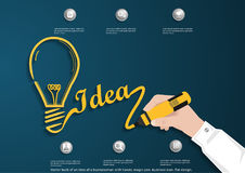 Vector bulb of an idea of a businessman with hands, magic pen, business icon, flat design. Bulb of an idea of a businessman with hands, magic pen, business icon vector illustration