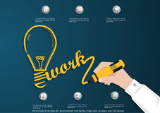 Vector bulb of an idea of a businessman with hands, magic pen, business icon, flat design. Stock Photos