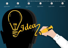 Vector bulb of an idea of a businessman with hands, magic pen, business icon, flat design. Bulb of an idea of a businessman with hands, magic pen, business icon royalty free illustration