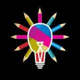 Bulb idea concet with pencils vector illustration