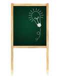 Bulb idea on Greenboard with wooden frame Royalty Free Stock Photo