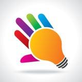 Bulb idea with human hand Stock Photo