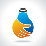 Bulb idea with human hand Royalty Free Stock Images