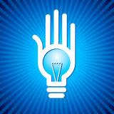 Bulb idea with human hand Royalty Free Stock Photography