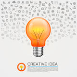 Bulb idea with icons on the background Stock Photo