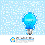 Bulb idea with icons on the background Royalty Free Stock Images