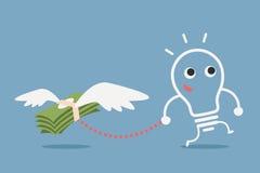 Bulb idea and money. Financial concept cartoon Stock Image