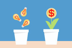 Bulb idea and money planting Royalty Free Stock Images