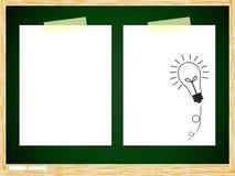 ฺBulb idea note paper. On green board background Vector Illustration